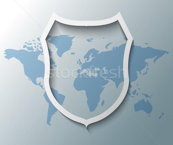 örnek kalkan imzalamak dünya haritası dünya teknoloji Stok fotoğraf © gigra