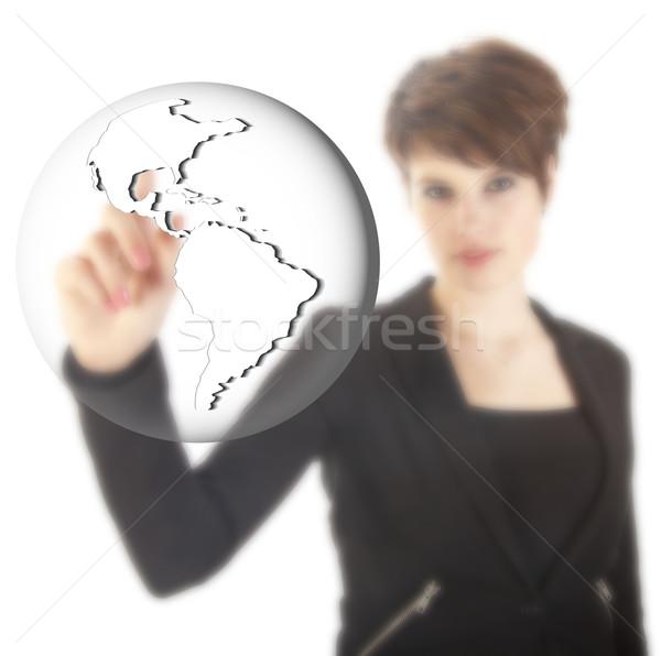 小さな 女性実業家 地球 世界中 孤立した 白 ストックフォト © gigra