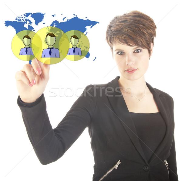 Fiatal üzletasszony virtuális világszerte barátok izolált Stock fotó © gigra