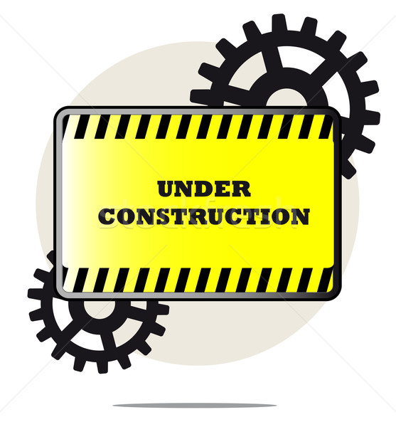 Illustration of under construction sign with gears and white background Stock photo © gigra