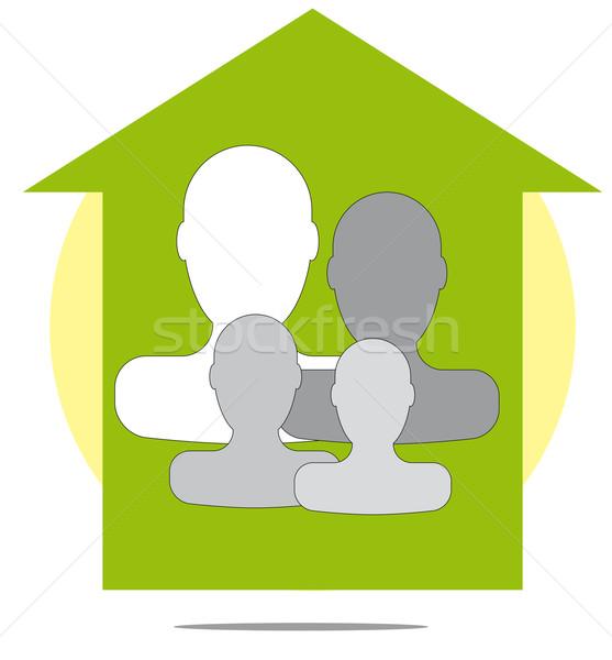 Ilustración familia ninos casa seguridad Foto stock © gigra