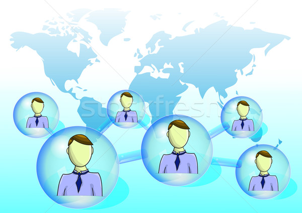 Illustration of social network with world map Stock photo © gigra