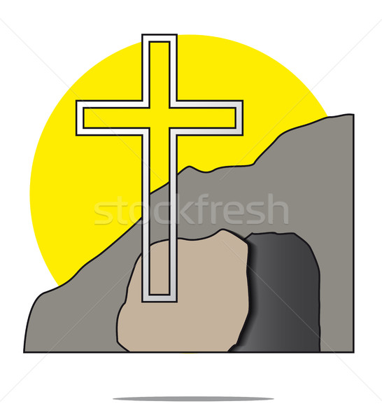Illustration of easter cross with grave Stock photo © gigra