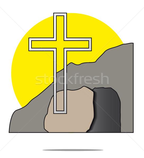 Illustrazione Pasqua cross tomba cielo luce Foto d'archivio © gigra