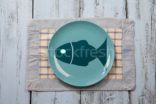 Vazio prato peixe ilustração luz azul Foto stock © gigra