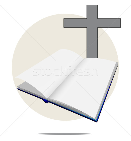 Illustration of white bible with cross Stock photo © gigra