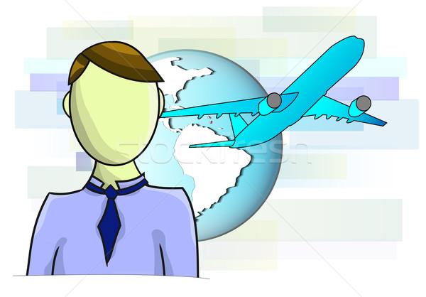 Illusztrációk üzletember repülőgép földgömb üzlet világ Stock fotó © gigra