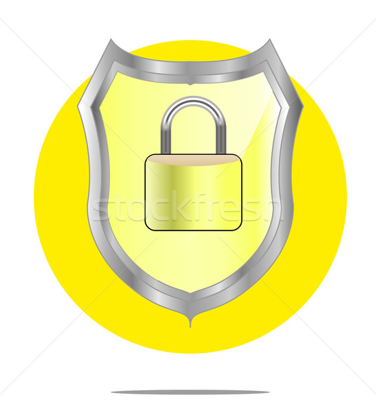Illustration of a yellow shield with lock with yellow circle background Stock photo © gigra