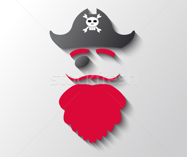 Illustration of pirate with red beard and black hat Stock photo © gigra
