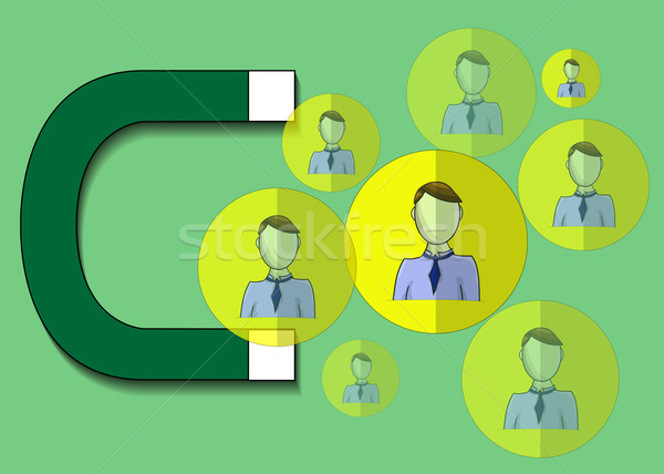 Illustration of magnet attracting business people Stock photo © gigra