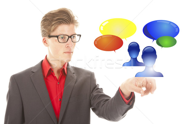 Young man selecting virtual friends isolated on white background Stock photo © gigra