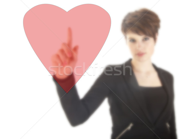 Young woman with red heart isolated on white background Stock photo © gigra