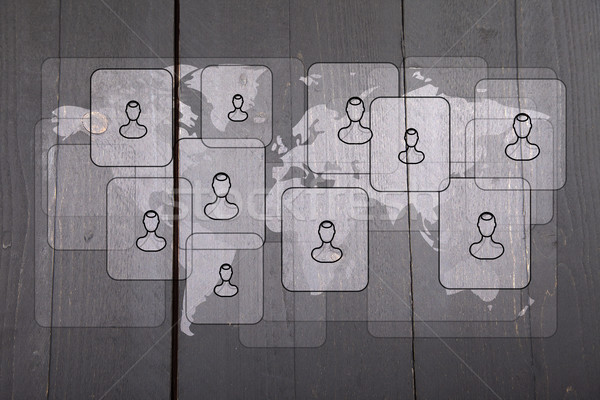 Illustration of people on white world map on dark black wooden background Stock photo © gigra
