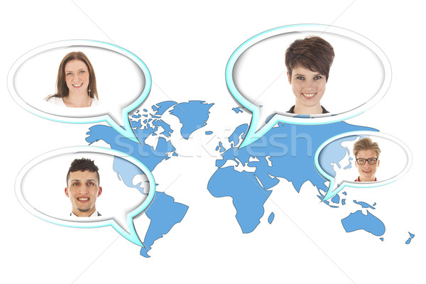 World map with several balloons with persons isolated on white background Stock photo © gigra