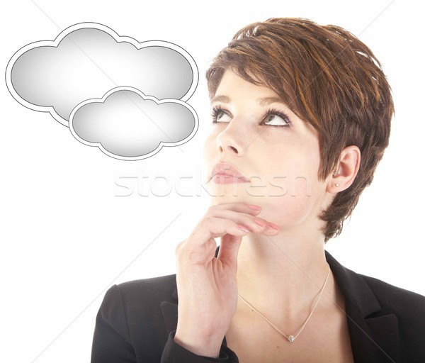 Young woman looking at cloud isolated on white background Stock photo © gigra