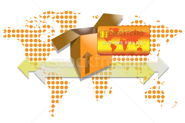 Illustration of transport box with creditcard and world background Stock photo © gigra
