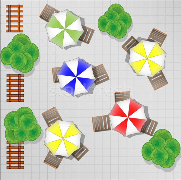 Illustration of square with chairs and parasols from above Stock photo © gigra