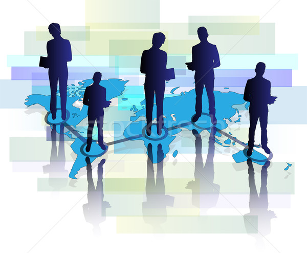 Stock photo: Illustration of several business men and women with tablet on world map