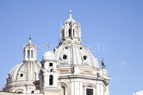 Church of Santa Maria di Loreto and Trajan Column in Rome. Italy Stock photo © gigra