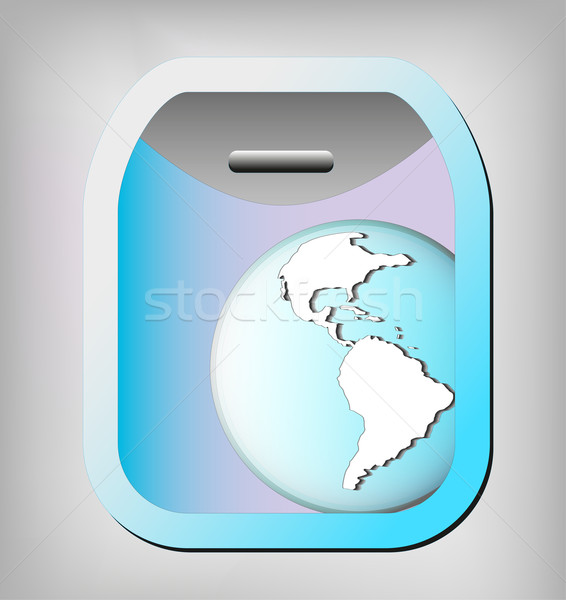 Illustration of airplane window with earth globe. Elements of this image are furnished by NASA  Stock photo © gigra