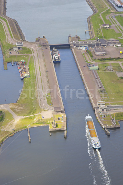 Dutch sea lock at IJmuiden, The Netherlands from above Stock photo © gigra