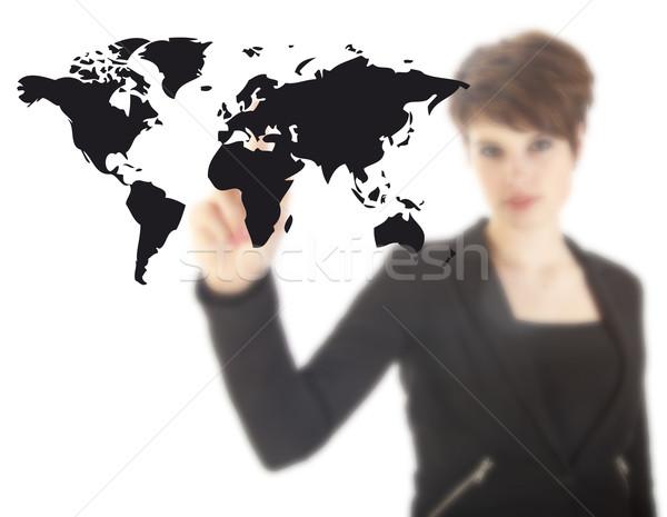 Jeune femme noir carte du monde isolé blanche affaires Photo stock © gigra