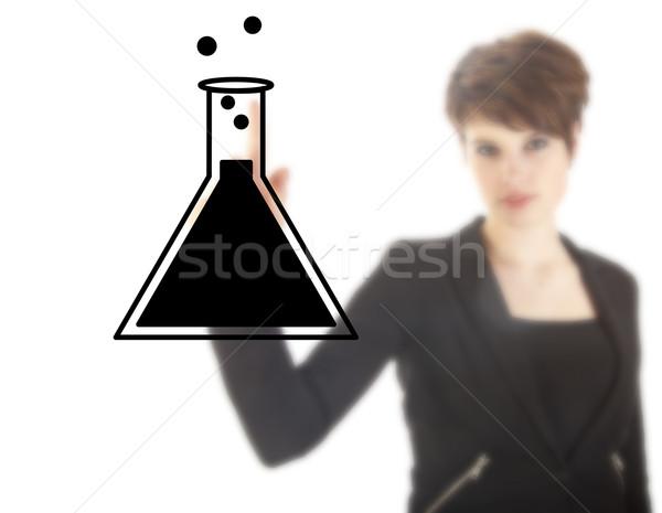 Genç kadın öğrenci bilim tüp yalıtılmış Stok fotoğraf © gigra