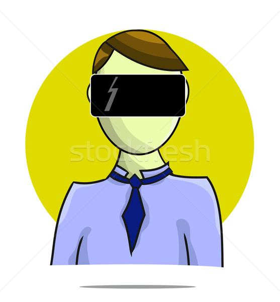 Illustration of virtual reality person with circle background Stock photo © gigra