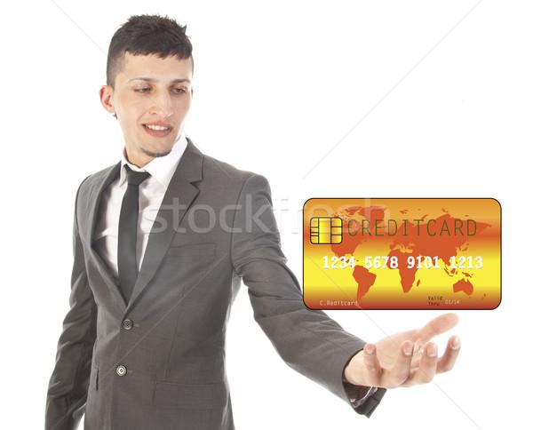 ストックフォト: 若い男 · クレジットカード · 孤立した · 白 · 手
