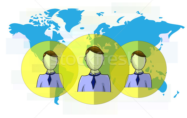 Stock photo: Illustration of social media heads with world map