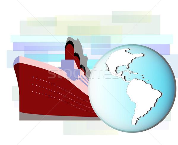 Ilustração navio de cruzeiro terra globo negócio água Foto stock © gigra