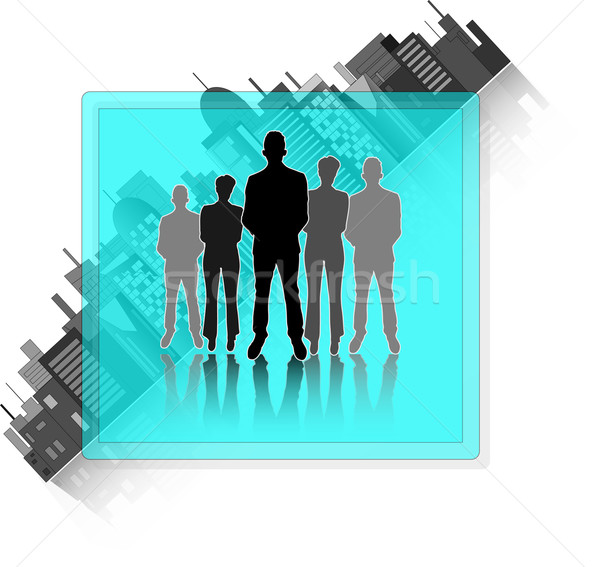 Illustration of business group with city skyline isolated on white background Stock photo © gigra