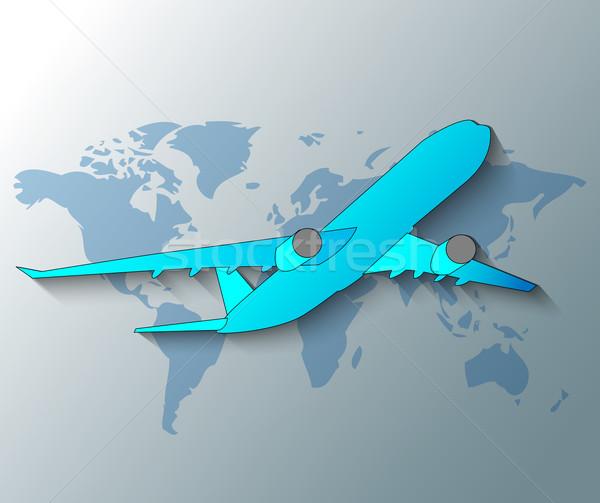 Ilustración avión mundo mundo mapa diseno Foto stock © gigra