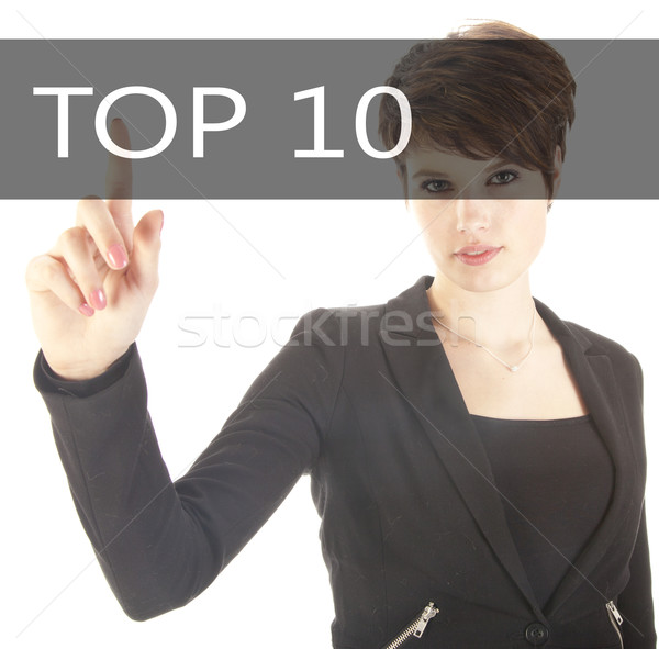 Business woman with top 10 sign on white background Stock photo © gigra