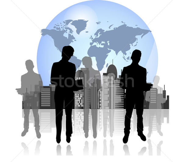 Silhouettes of business man and woman with international background Stock photo © gigra