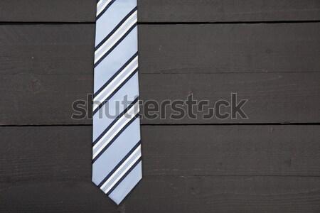 çizgili iş kravat karanlık ahşap doku Stok fotoğraf © gigra