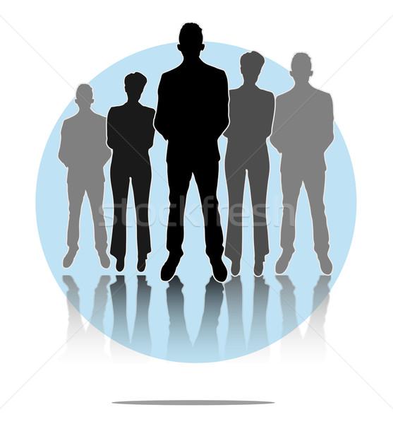 Illusztráció üzletemberek nők csoport világoskék kör Stock fotó © gigra