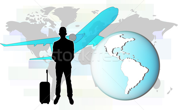 Illustration of business man travelling by plane.  Elements of this image are furnished by NASA Stock photo © gigra