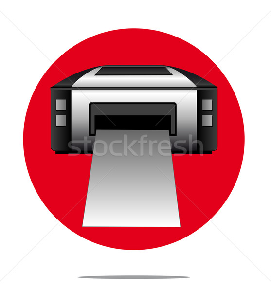 Illustration of a printer with red circle background Stock photo © gigra