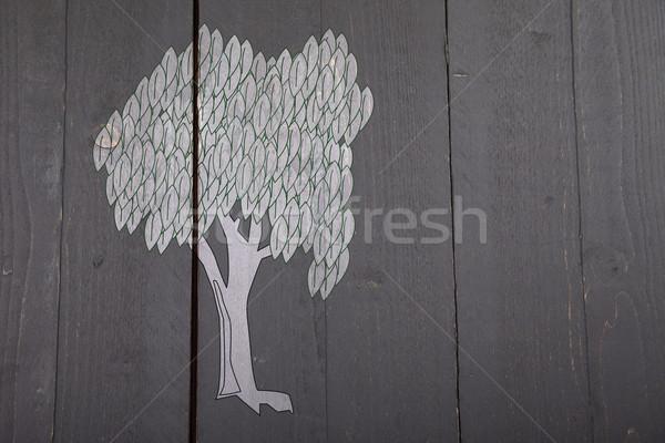 örnek beyaz ağaç karanlık siyah ahşap Stok fotoğraf © gigra