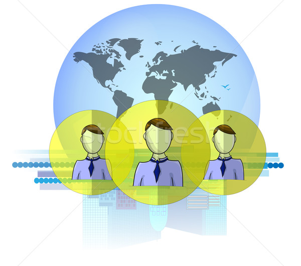 Illustration of social media heads with international business background isolated on white backgrou Stock photo © gigra