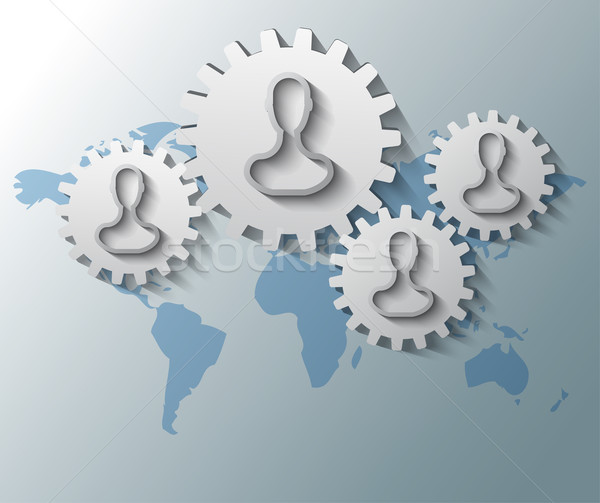 Illustration of gears with heads and world map background Stock photo © gigra