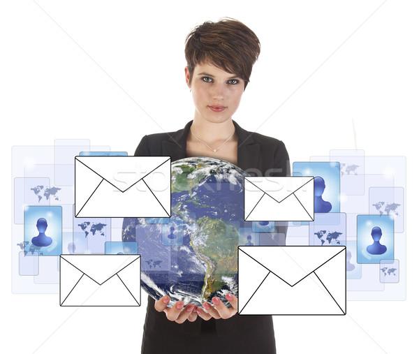 小さな ビジネス女性 地球 シンボル 孤立した ストックフォト © gigra