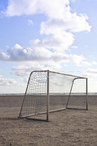Futbol gol plaj mavi gökyüzü bulutlar güneş Stok fotoğraf © gigra