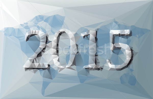 Polygonal illustration of 2015 with world map with blue and grey colors Stock photo © gigra