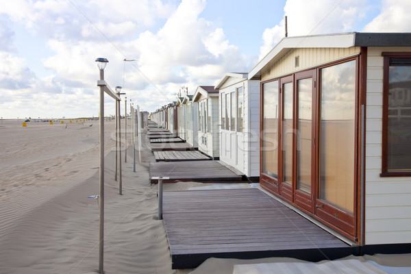 View at beach houses on beach in IJmuiden, The Netherlands Stock photo © gigra