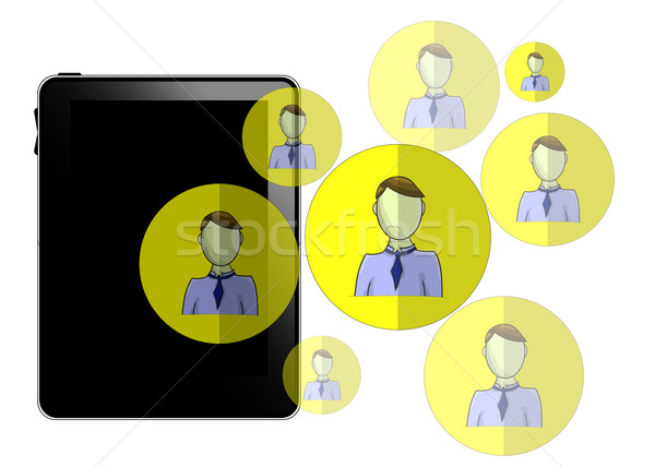 Illustration of tablet with social media heads isolated on white background Stock photo © gigra