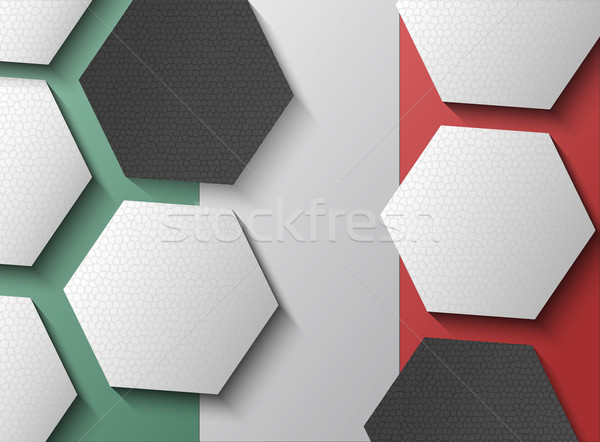 Illustration of Mexican flag with soccer items Stock photo © gigra