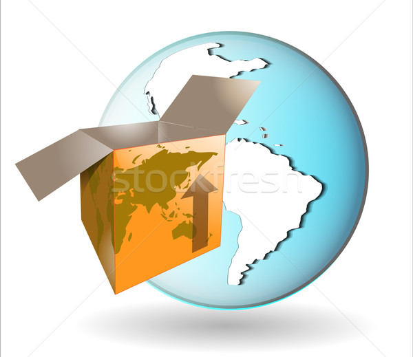 Illustration expédition boîte terre monde affaires Photo stock © gigra