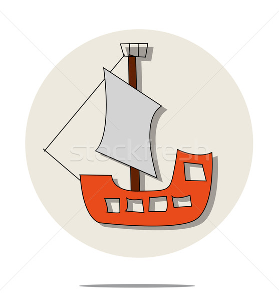 Illustration of red pirate ship Stock photo © gigra